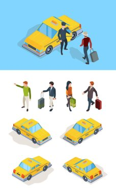 Taxi service. Travellers passengers call taxi with luxury driver professional chauffeurs yellow isometric cars vector pictures. Taxi driver and passenger, yellow car transport service illustration icon