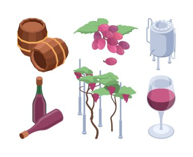 Winery isometric. Vineyard technology processes barrels for grape people bottling machines vector set. Illustration winery press, bottling production winemaking icon