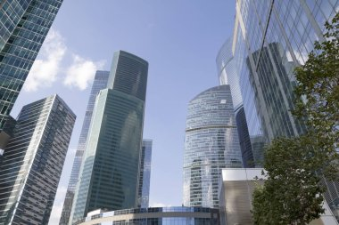 Low angle view of Moscow-City skyscrapers. Moscow-City (Moscow International Business Center) is a modern commercial buildings with a futuristic design in downtown.