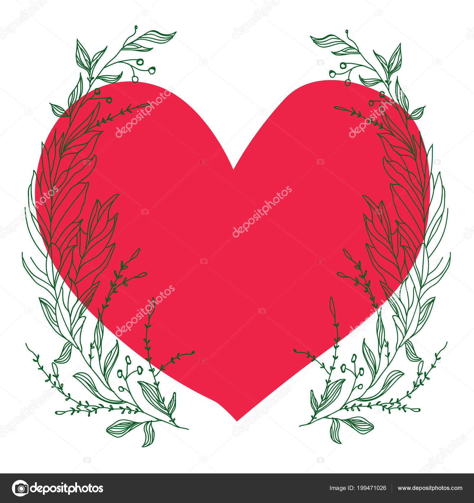 Plantilla Vectores Para Tarjeta Felicitación Composición Con Corazón ...