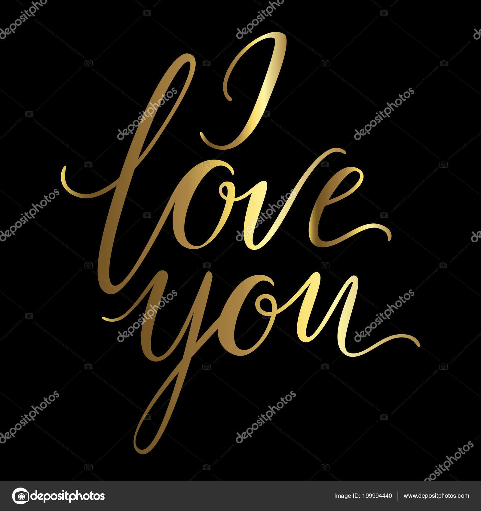 Vector Greeting Card Golden Love You Inscription Black Background