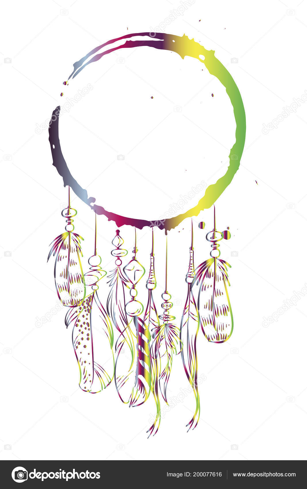 vector template greeting card gradient dream catcher feathers beads