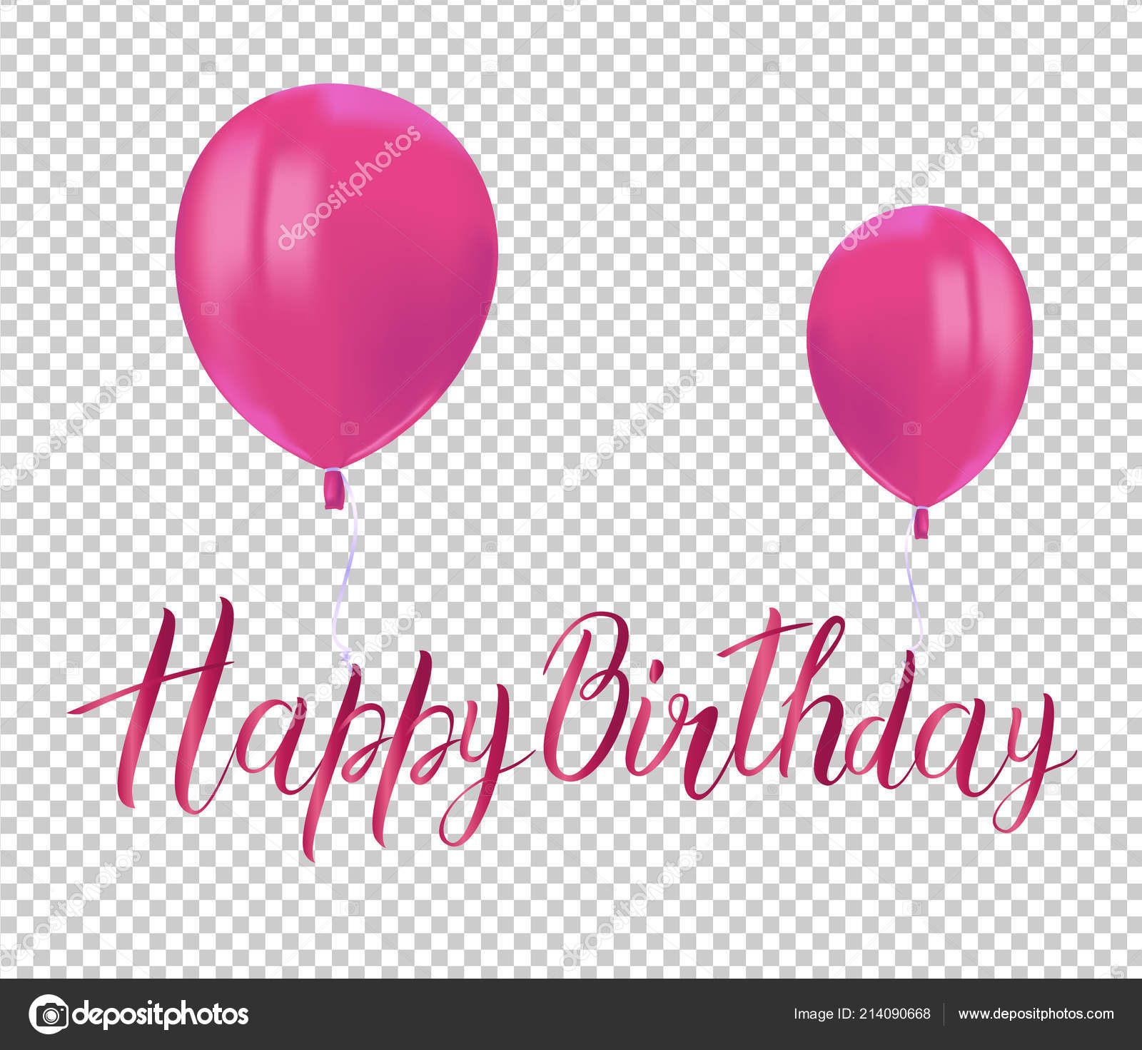 Realistic Pink Balloons Reflects Inscription Happy Birthday Transparent Background Festive Stock Vector