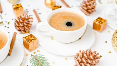 cup of hot coffee on a christmas holiday table. holidays and events consept. Flat lay, Top view