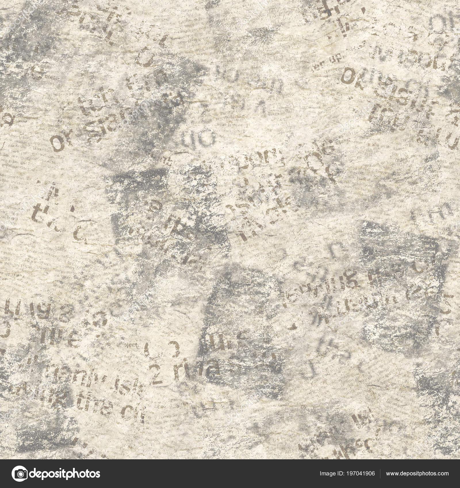 Old Grunge Newspaper Collage Seamless Pattern Unreadable Vintage