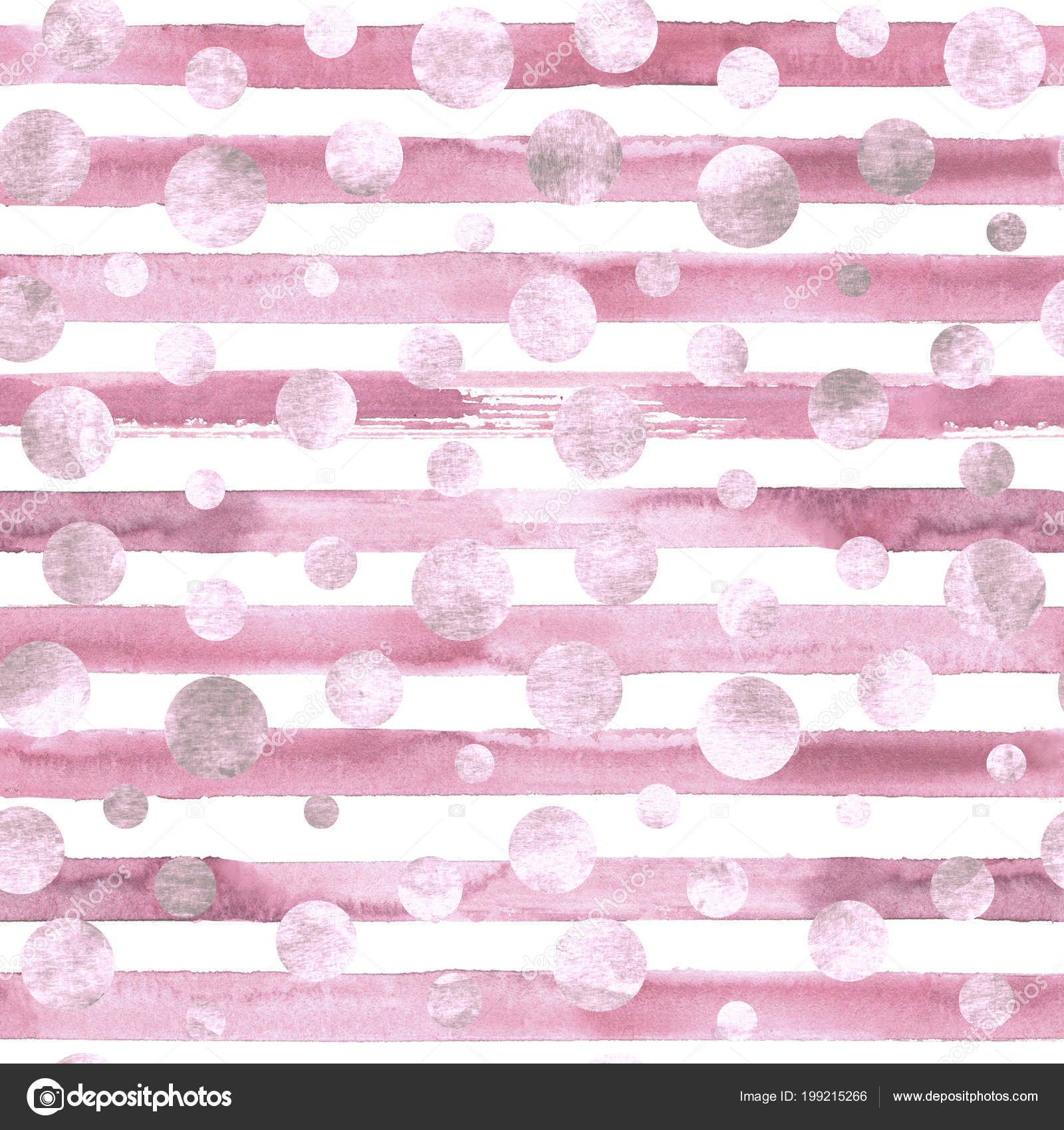 Abstract Geometric Pink Confetti Circles Pink White Stripes Seamless