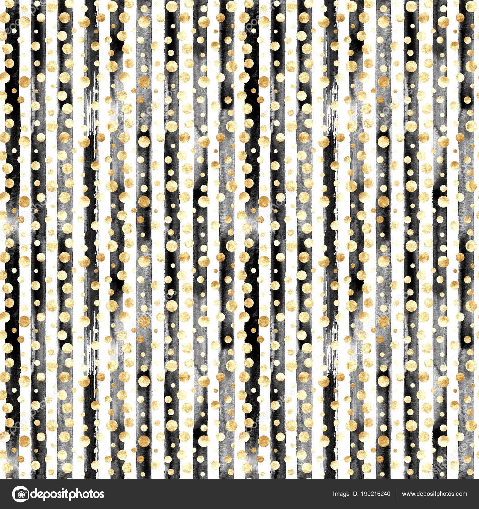 Abstract Gold Metal Confetti Black White Stripes Seamless Pattern Luxury Stock Photo C Olgaze 199216240