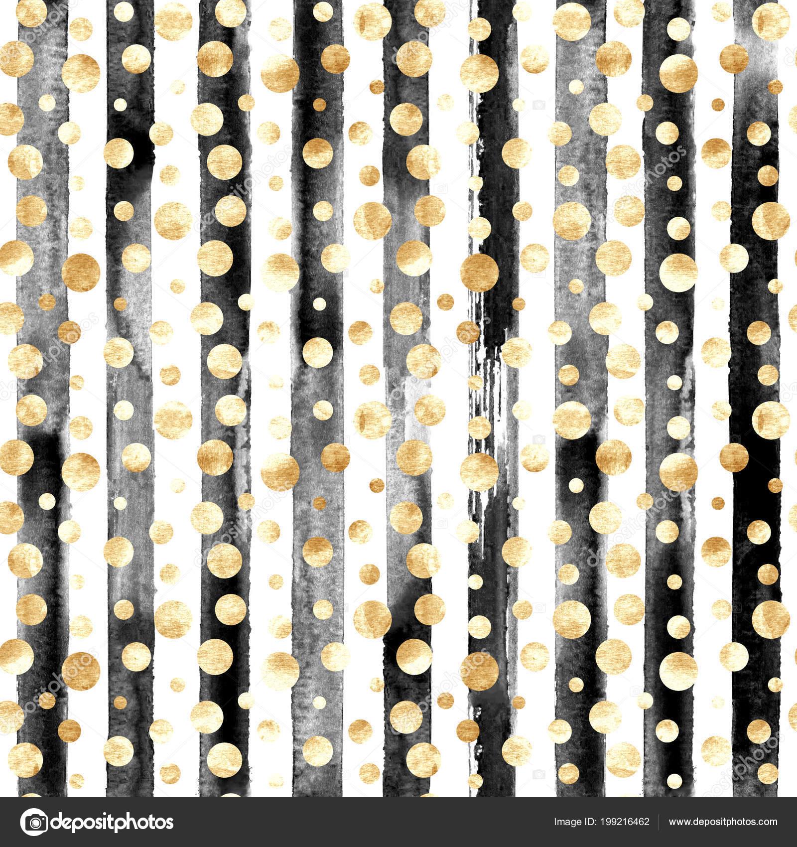 Black And White Stripes With Gold Polka Dots Abstract Gold Metal Confetti Black White Stripes Seamless Pattern Luxury Stock Photo C Olgaze 199216462