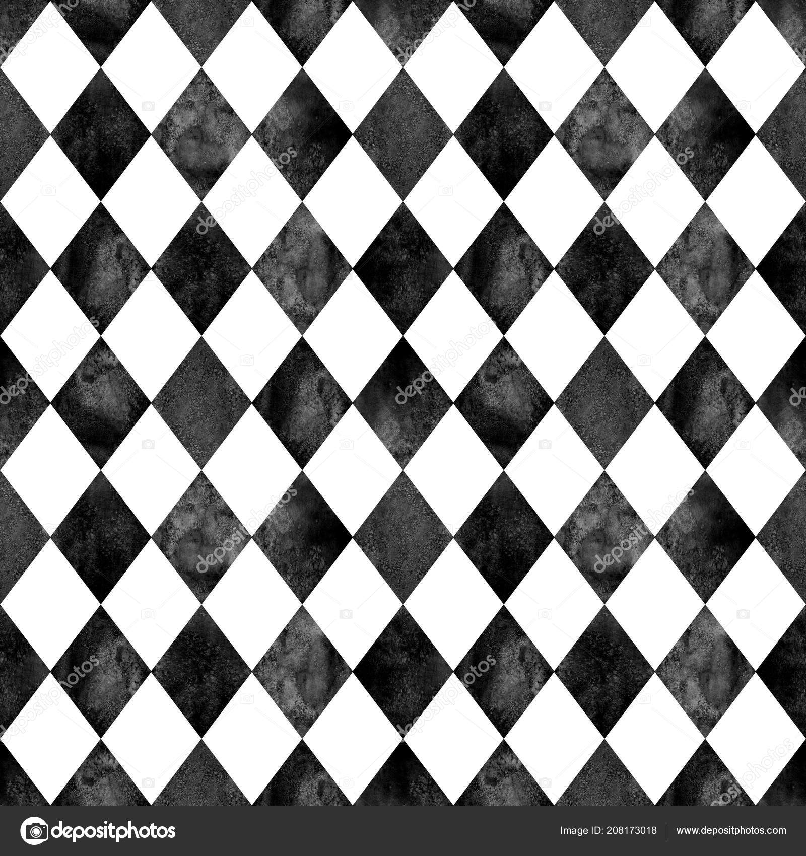 Watercolor Black White Argyle Seamless Plaid Pattern Watercolour