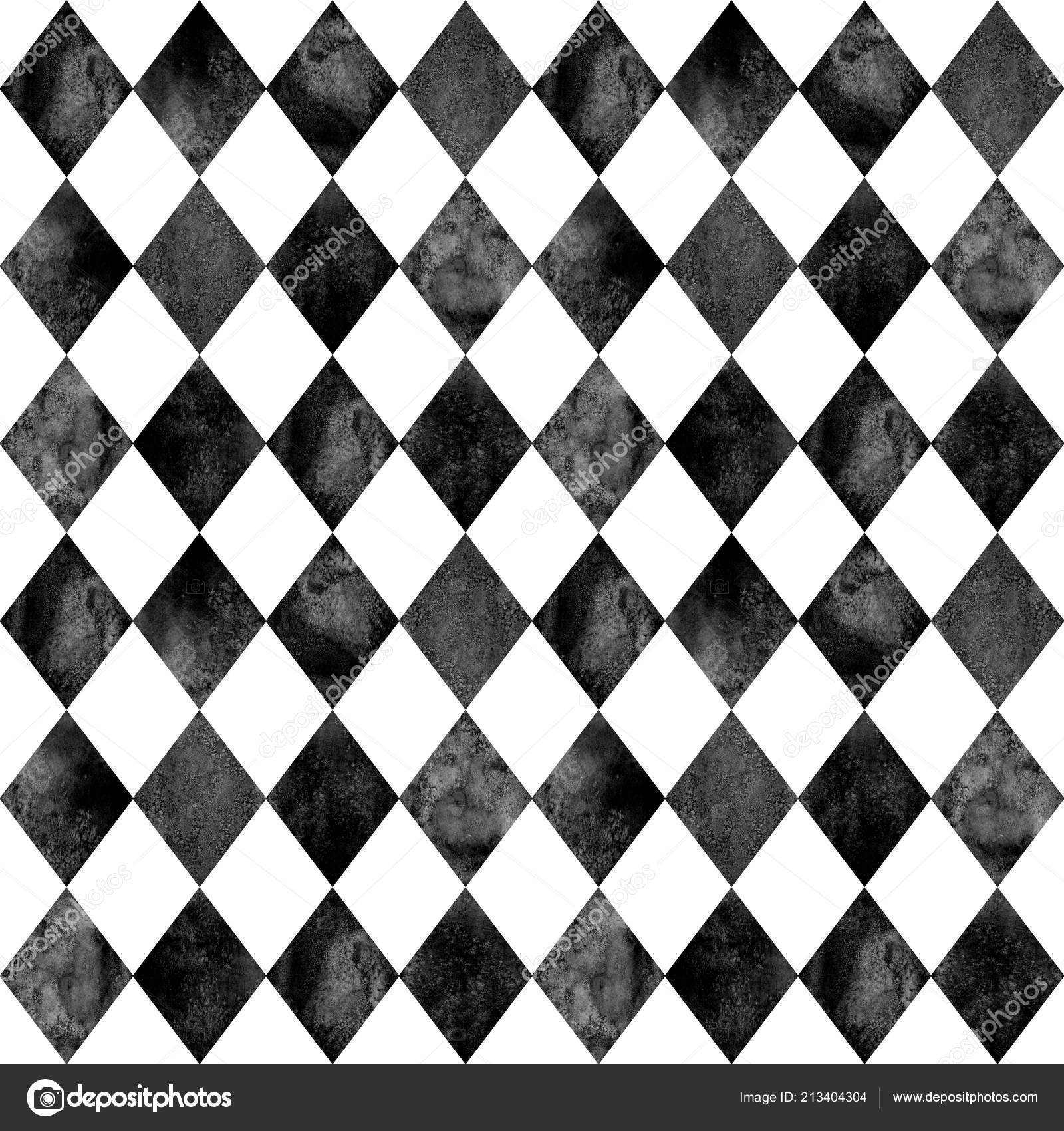 Black White Argyle Seamless Plaid Pattern Watercolour Hand Drawn
