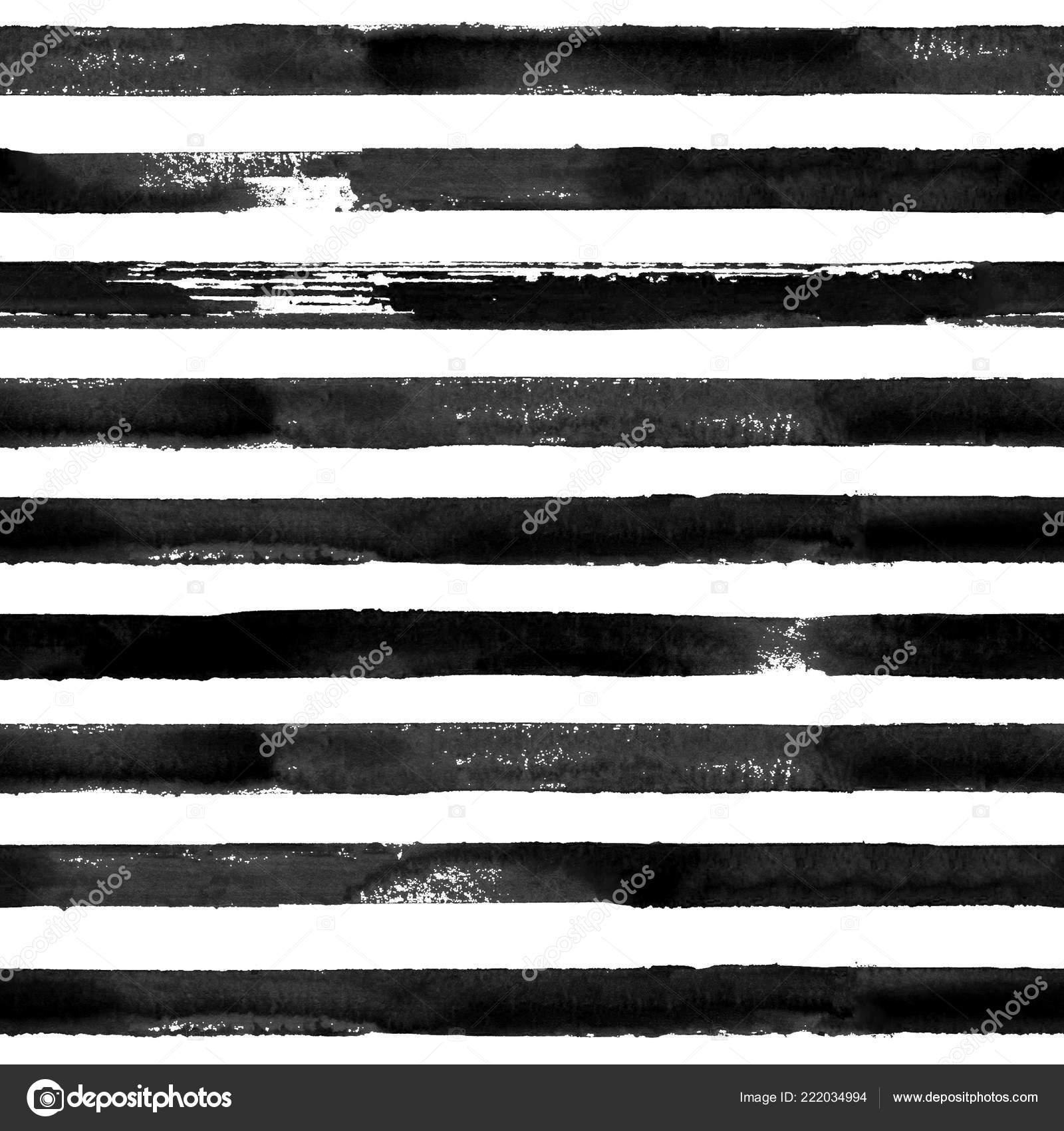 Black White Watercolor Hand Drawn Striped Seamless Pattern White