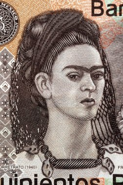 Portrait of Frida Kahlo on mexican banknote