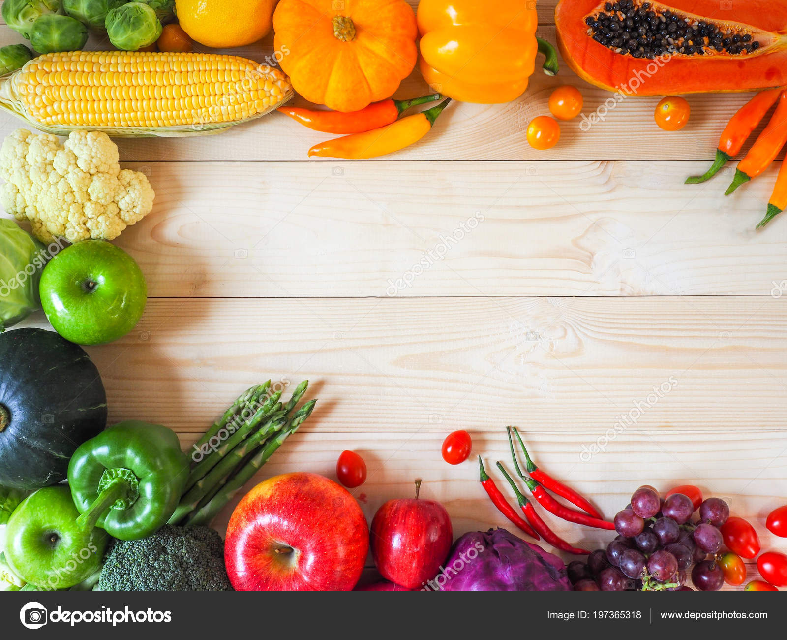 Colorful Fresh Fruits Vegetables Wood Background Healthy ...
