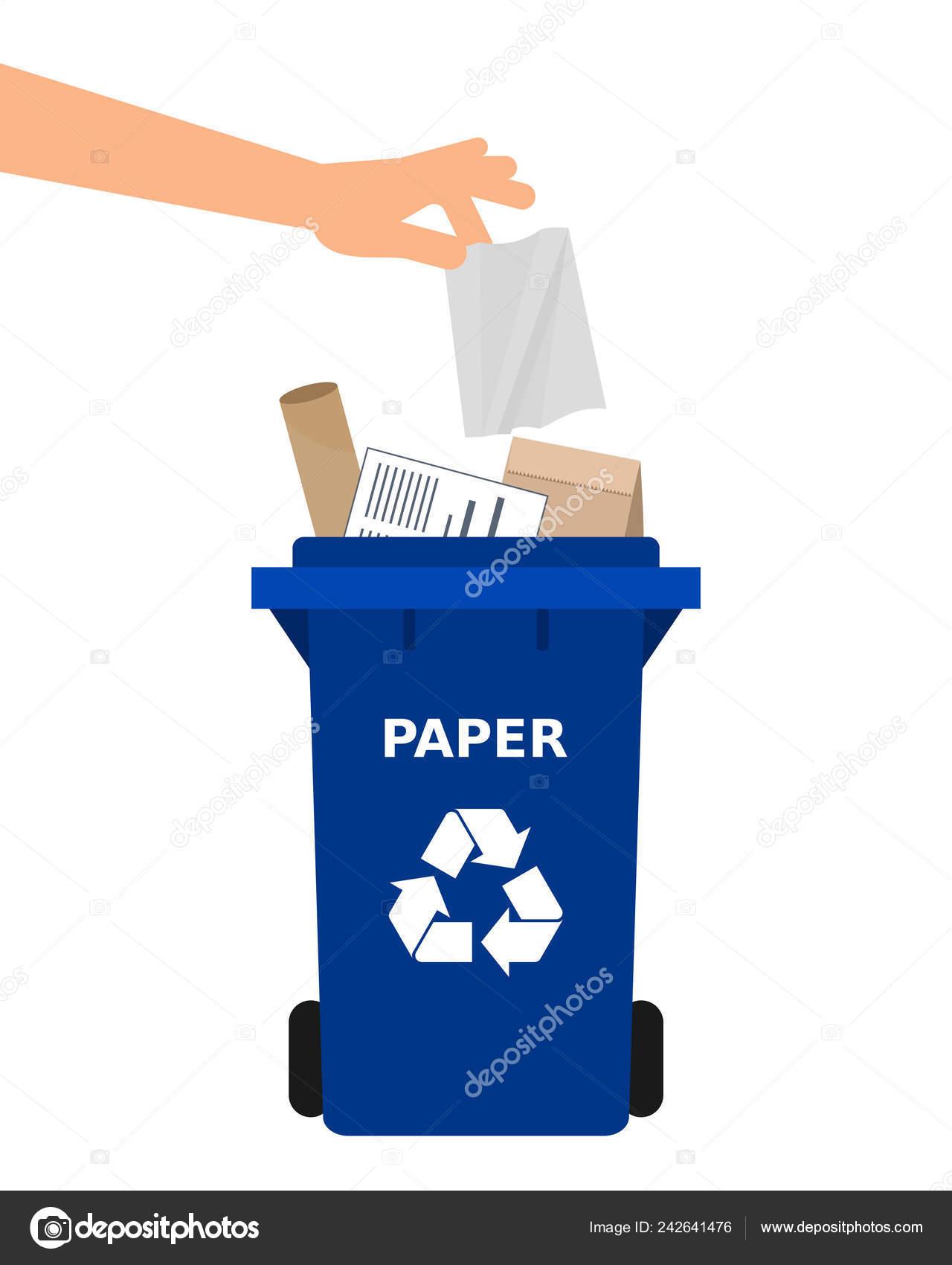 Mano Tirar Papel Una Papelera Reciclaje Reciclaje Papel