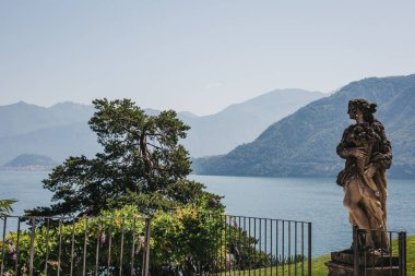 Lenno, Italy - July 08, 2017: View of Villa del Balbianello's gardens, Lake Como. The Villa was used as location for several films, including Star Wars: Episode II and James Bond Casino Royale.