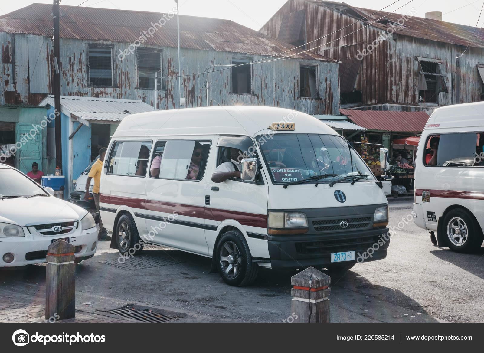 2d2c2332fa Bridgetown Barbados June 2018 Private White Mini Buses Parked Outdoor —  Stock Photo