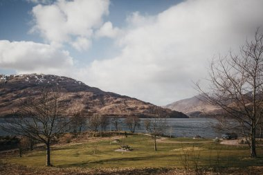 View of Loch Eil, Fort William, Scotland, on a clear spring day.