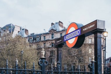 London Underground sign at the entrance of Charing Cross station