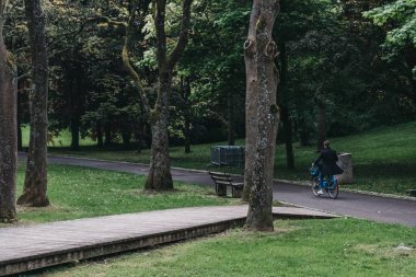Man cycling inside a park in Luxembourg City among the greenery.