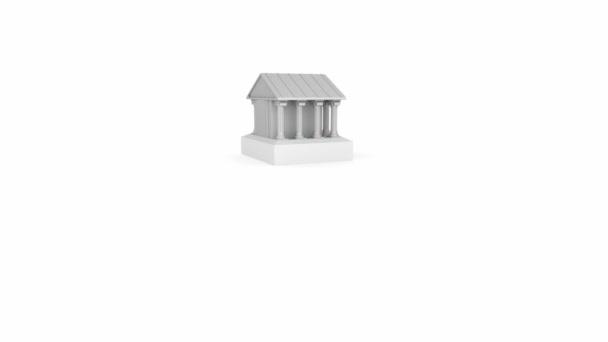 E-Bank fogalma és a klasszikus római ház ikon, 3d animáció