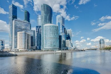 Skyscrapers on the river bank in the city of Moscow