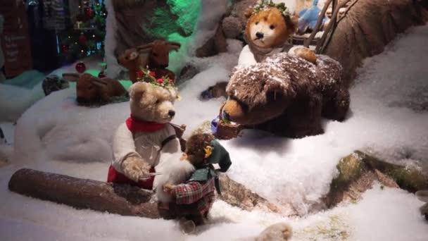 München, Deutschland - 20.11.2018: bewegte mechanische Spielzeugtiere, Weihnachtsdekoration.