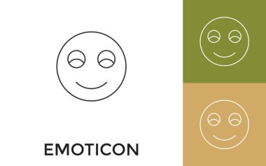 Editable Emoticon Thin Line Icon with Title. Useful For Mobile Application, Website, Software and Print Media. icon