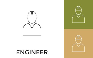 Editable Engineer Thin Line Icon with Title. Useful For Mobile Application, Website, Software and Print Media. icon