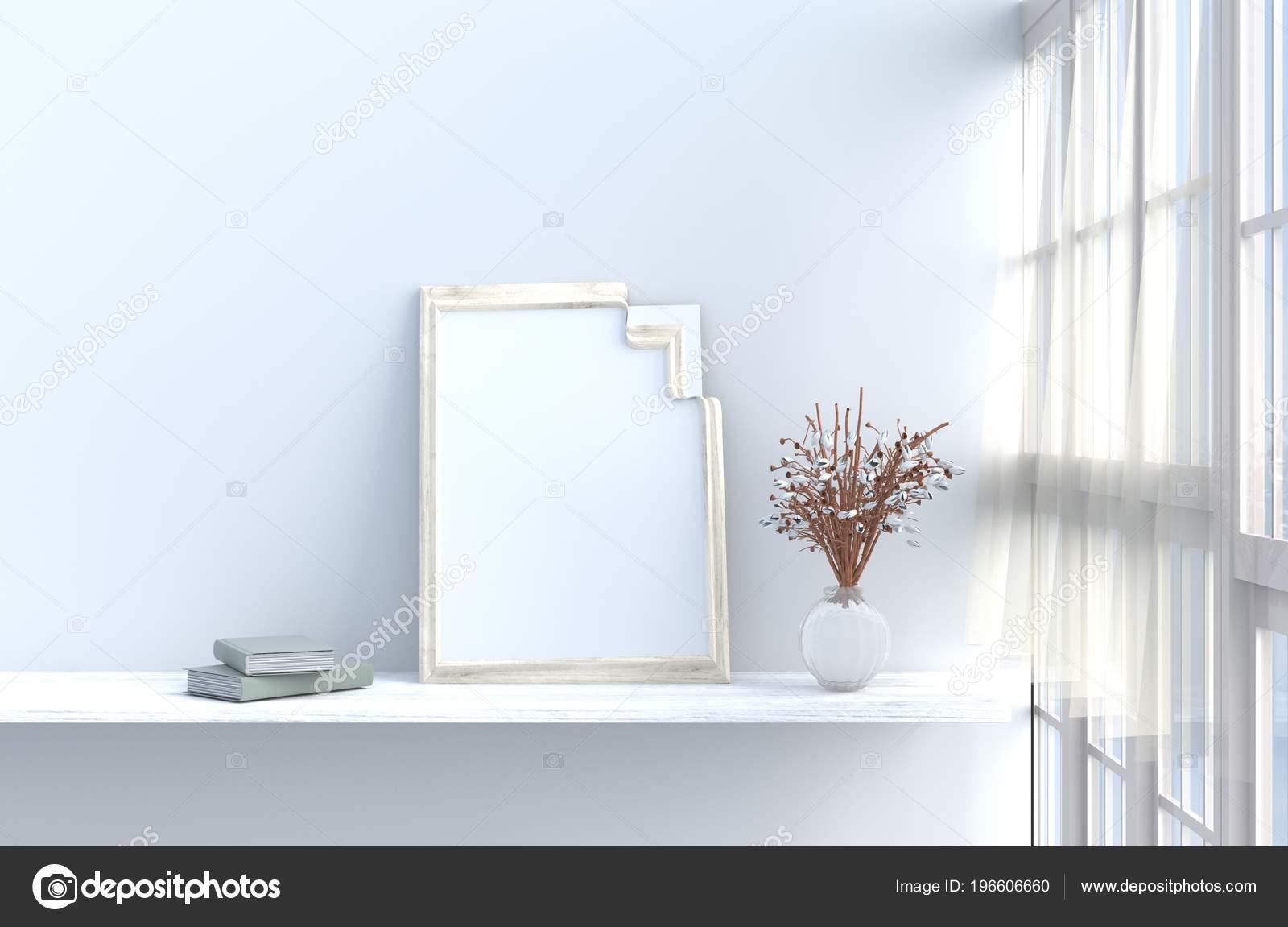Grau Weiß Wohnzimmer Dekor Mit Weißen Holz Wand Fenster ...
