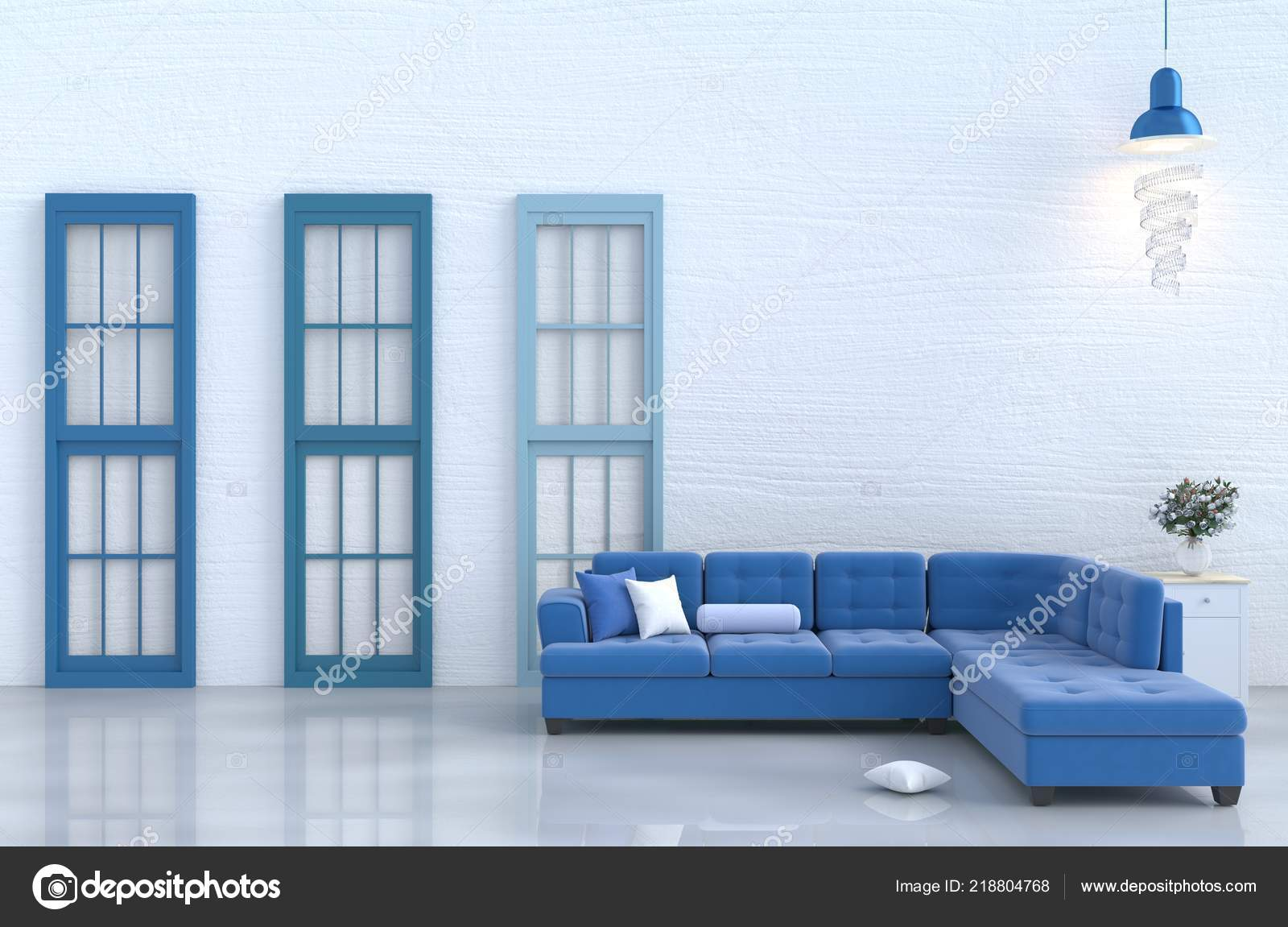 White Living Room Decor Blue Sofa White Wood Wall Pillow