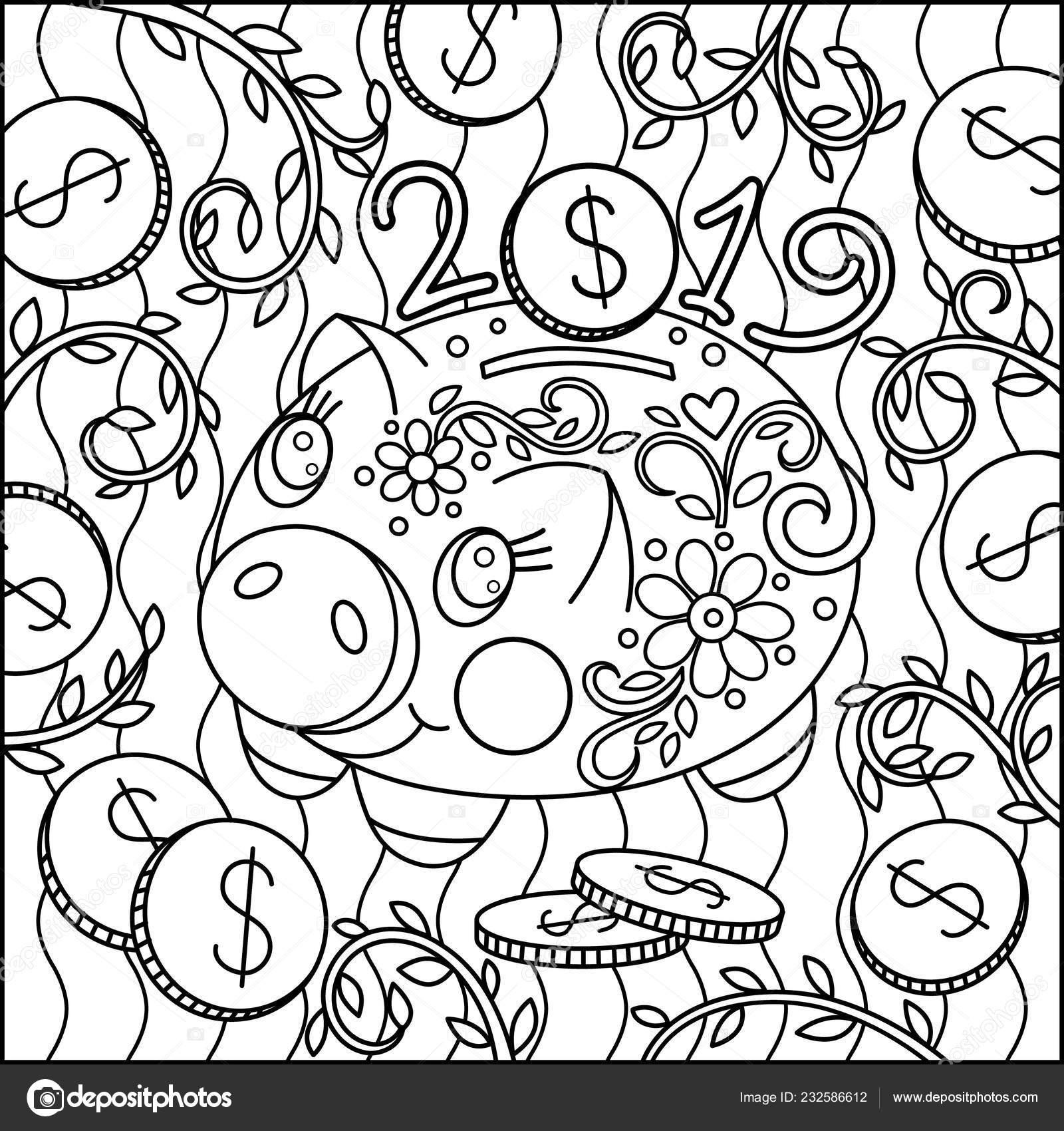 Coloriage Mignon Porc Piggy Graphique Argent Boîte Dessin