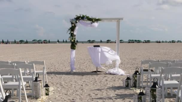 Wedding ceremony on the beach. Decortion for wedding ceremony on the beach. slow motion
