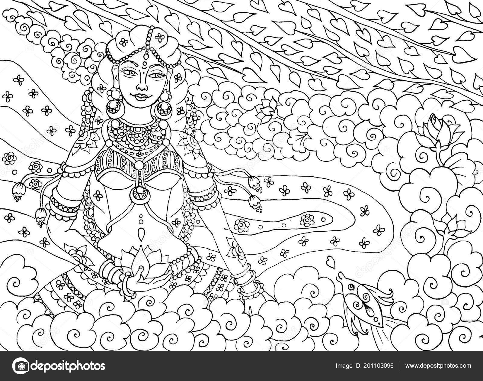 Femme Indienne Dans Style Ancien Kerala Page Livre Colorier Pour
