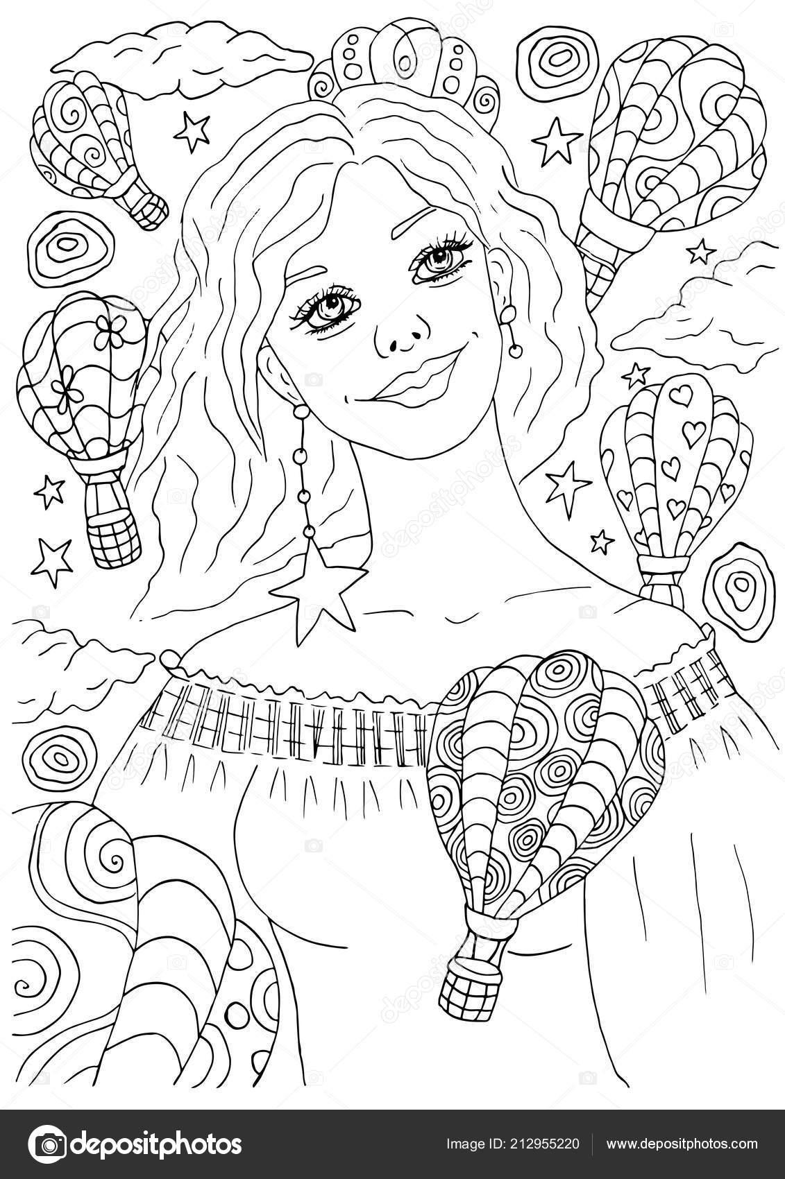 Portrait Femme Souriant Heureux Jeune Avec Des Ballons Air Chaud