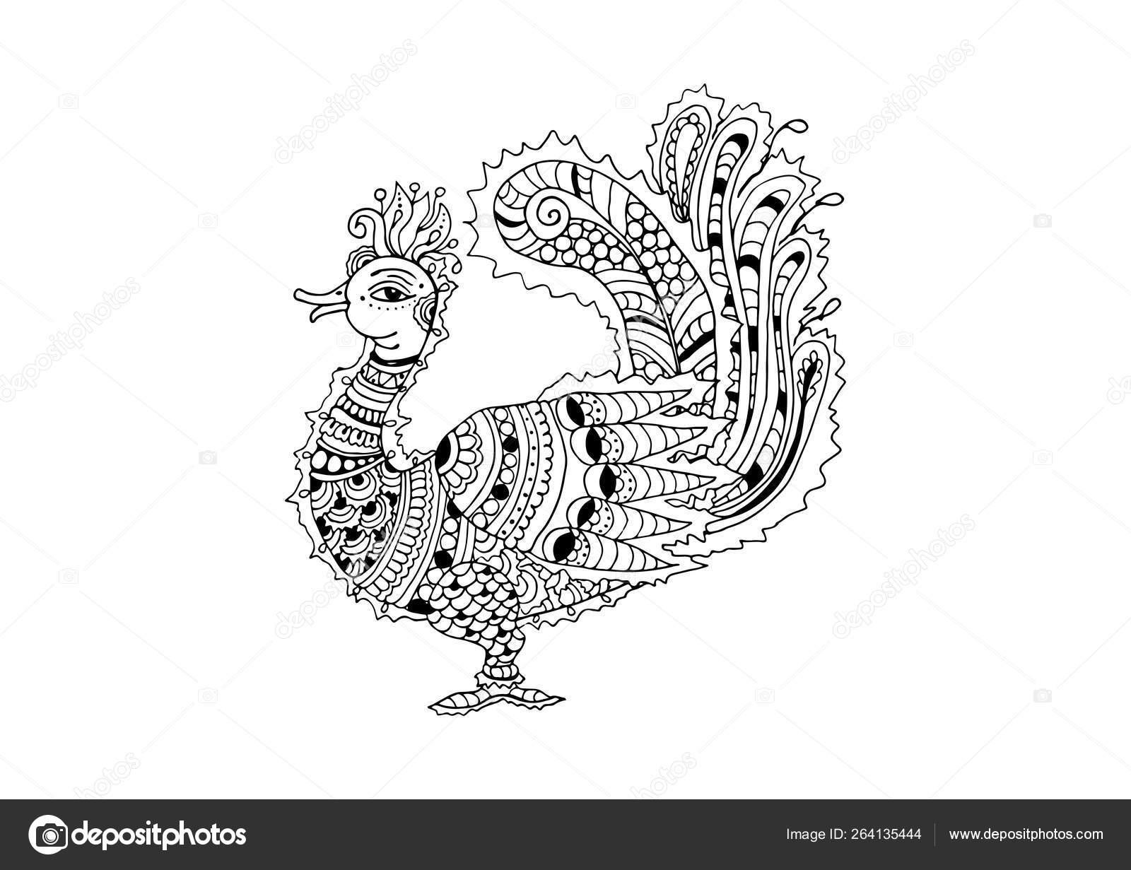 Hint Kalamkari Tarzi Tavus Kusu Sus Anahat Illustrasyon Vektor