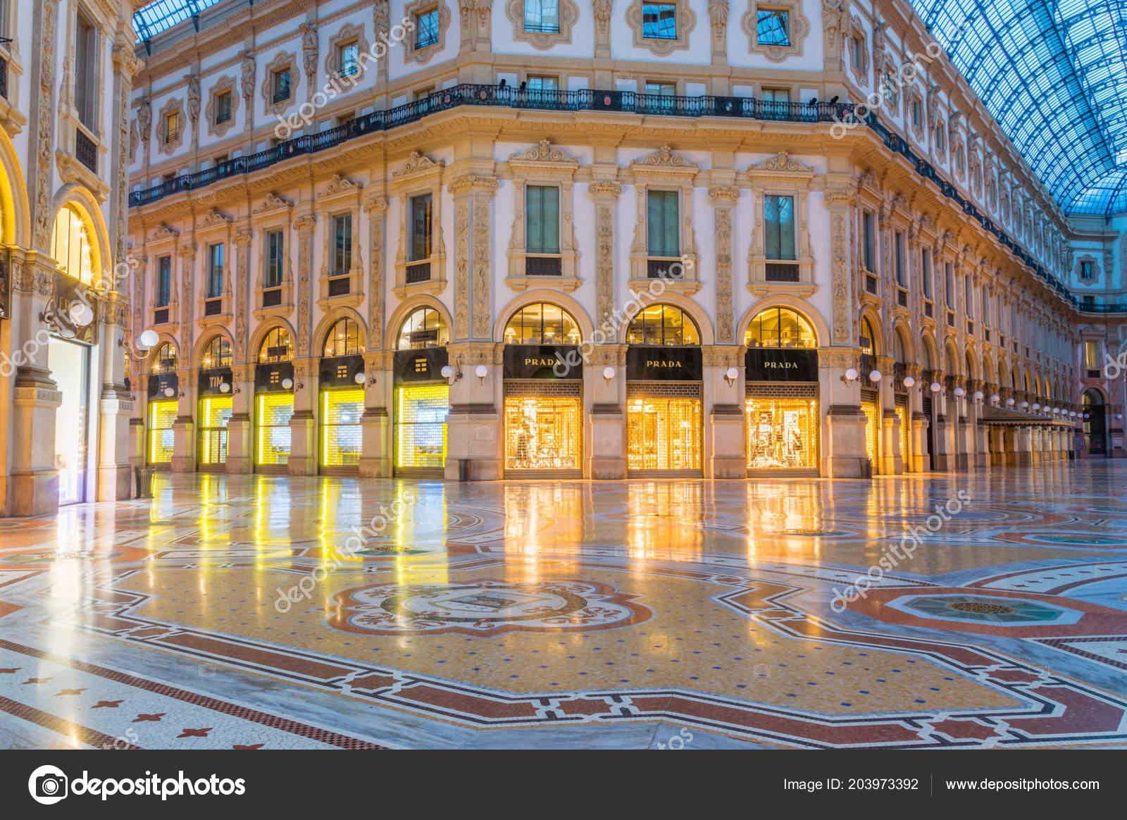 Milan Italy May 2018 Stores Galleria Vittorio Emanuele Night Stock