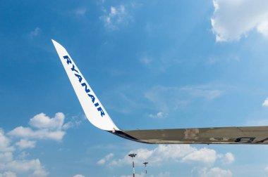 Bergamo, Italy - June 2, 2018: Ryanair inscription on the wing of aircraft.