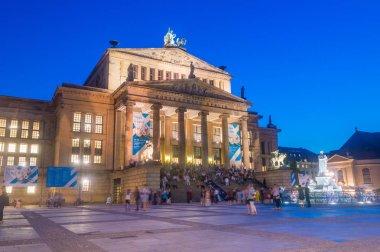 Berlin, Germany - August 15, 2018: Berlin Konzerthaus at Gendarmenmarkt at night.