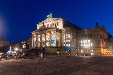 Berlin, Germany - August 15, 2018: Night view of Berlin Konzerthaus at Gendarmenmarkt.