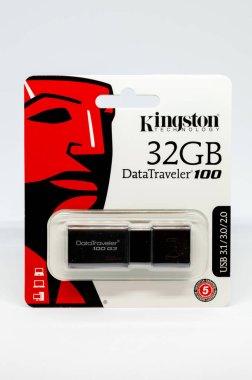 Pruszcz Gdanski, Poland - December 12, 2018: Pendrive Kingston Data Traveler 100 G3 32GB with USB 3.1
