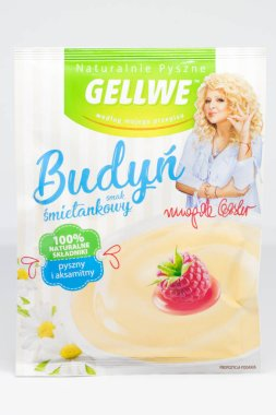 Pruszcz Gdanski, Poland - January 24, 2019: Gellwe pudding of sour cream flavor. Bag of Budyn with Magda Gesler picture.