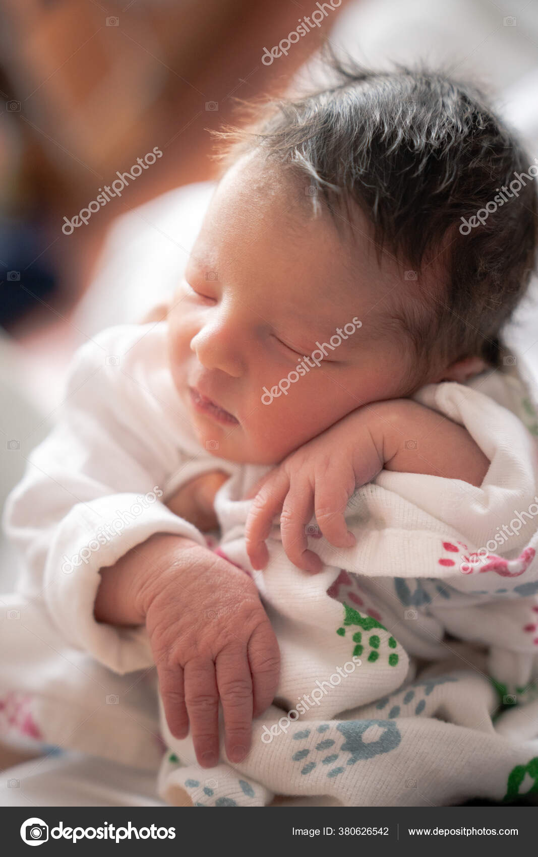 Cute Caucasian Hispanic Infant Baby Laying On Soft White Cotton ... | 1700x1067