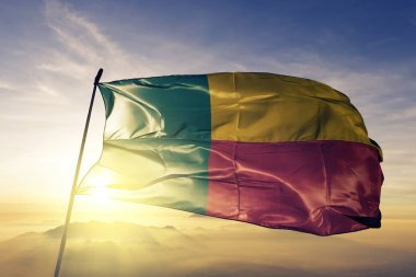 Benin national flag textile cloth fabric waving on the top