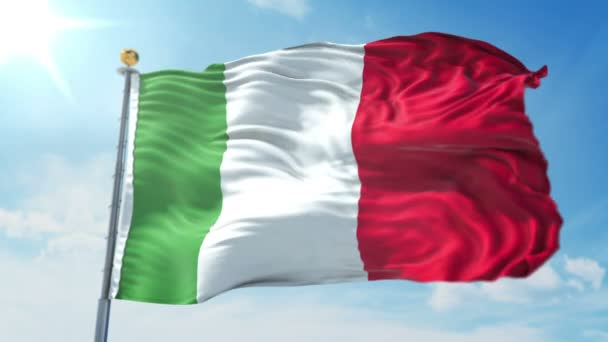 Italy flag seamless looping 3D rendering video. 3 in 1: Includes isolated on green screen and alpha channel as luma matte for easy clipping in AE. Beautiful textile cloth fabric loop waving