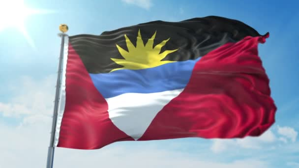 Antigua and Barbuda flag seamless looping 3D rendering video. 3 in 1: Includes isolated on green screen and alpha channel as luma matte for easy clipping in AE. Beautiful textile cloth fabric loop waving