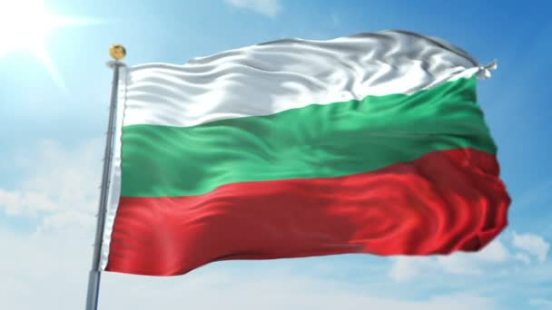 Bulgaria flag seamless looping 3D rendering video. 3 in 1: Includes isolated on green screen and alpha channel as luma matte for easy clipping in AE. Beautiful textile cloth fabric loop waving