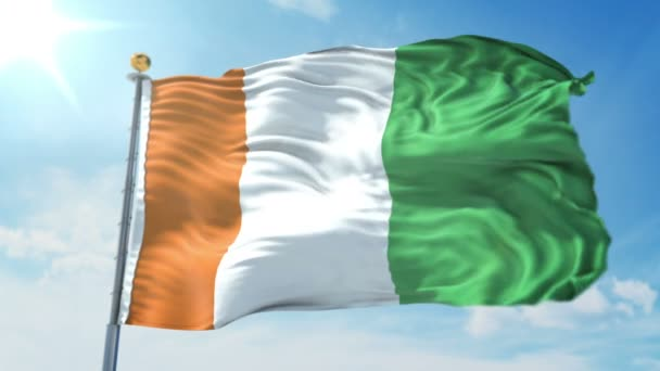 Cote divoire Ivory Coast flag seamless looping 3D rendering video. 3 in 1: Includes isolated on green screen and alpha channel as luma matte for easy clipping in AE. Beautiful textile cloth fabric loop waving
