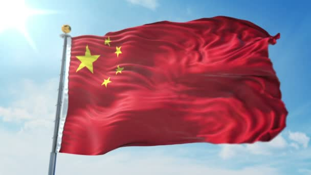 China flag seamless looping 3D rendering video. 3 in 1: Includes isolated on green screen and alpha channel as luma matte for easy clipping in AE. Beautiful textile cloth fabric loop waving