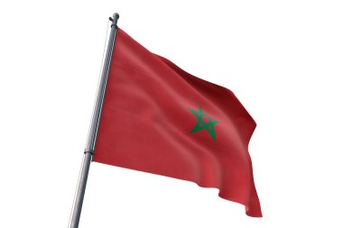 Morocco flag waving isolated white background on the wind