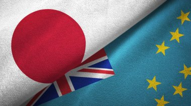 Japan and Tuvalu two folded flags together